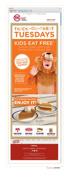 Brand: Bob Evans | Subject: Trick-or-Treat Tuesdays in October!