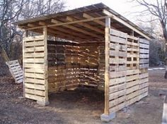 Openhaardhout droog bewaren onder een zelfgemaakt afdakje van pallets. Gratis bouwtekening en voorbeelden om tuinhuisjes te maken voor haardhout.