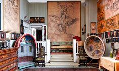 På väggen en skiss till Apollo och sånggudinnorna för Dramatens plafond. På sidorna modeller för Lunds domkyrka och Adolf Fredriks kyrka. Dream Art, Studio, Architecture, Creative, Painting, Oil, Artists, Spaces, Decor