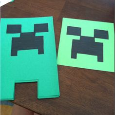 The MineCraft Creeper invites I made for my son's 10th bday party