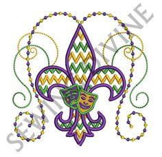 MARDI GRAS CHEVRON Fleur de lis Embroidery Design by SewingDivine, $4.99