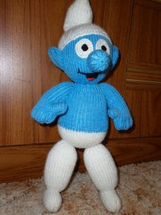 Knitted smurf by Marionsknittedtoys on Etsy, $28.00