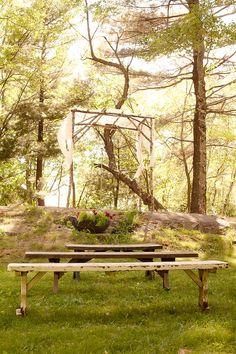 Berkshires Wedding, Gatsby, Dream Away Lodge, Becket, Massachusetts, Bride and Groom. JCrew Suit, BHLDN Dress, Beautiful Ceremony Site, Rustic, Woods