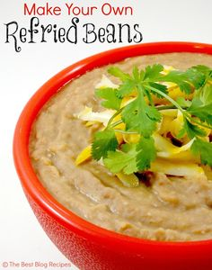 Easy Homemade Refried Beans, using canned pinto beans, canned chilies, onion and spices. Bean Recipes, Side Dish Recipes, Brunch Recipes, Side Dishes, Dinner Dishes, Main Dishes, Italian Recipes, Mexican Food Recipes, Ethnic Recipes