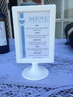 Rehearsal dinner: drinks menu for our backyard rehearsal dinner in an ikea picture frame