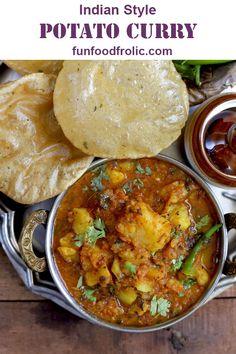 Sabzi Aloo Ki Sabzi is a delicious Indian style gluten-free, vegan potato curry. Best served with poori via Aloo Ki Sabzi is a delicious Indian style gluten-free, vegan potato curry. Best served with poori via Aloo Recipes, Veg Recipes, Curry Recipes, Indian Food Recipes, Cooking Recipes, Vegan Indian Food, Indian Vegetarian Recipes, Indian Potato Recipes, South Indian Food