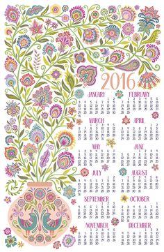 Tea Towel Calendar 2016 © Mary Tanana. Wycinanki style flowers.