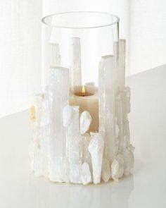 Natural Selenite Candleholder/Vase  gORGEOUS IDEA for any gemstone/natural stone and vase