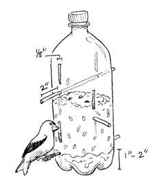 I think I prefer this one - link has some helpful information too.  Bird Feeder from Plastic Bottle great kid craft