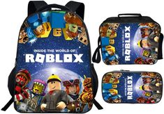 Roblox School Backpack - Lunch Bag - Pencil Case for back to school #robloxschoolbackpack #robloxbackpack #robloxpencilcase #robloxlunchbag #robloxbacktoschool Back To School Backpacks, Kids Backpacks, Sharks For Kids, Lunch Box Set, Buy Backpack, Rolling Backpack, Pencil Bags, School Bags, Toddler Girl