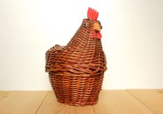 Wicker Basket Rooster - cute animal farmhouse decor, unique country cottage decor accent by myretroapartment on Etsy