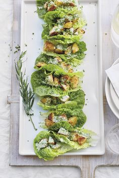 If you're having a garden party this summer or are expecting last minute guests and need to throw together some delicious nibbles, this spiced potato and little gem salad recipe serves 8 and will be on the table in 30 minutes.