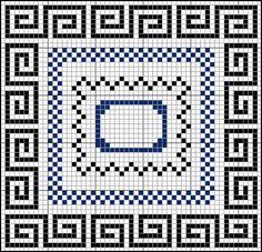 cross stitch Greek key & checkerboard borders
