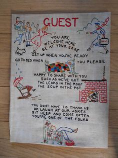 Vtg 1940 Hand Embroidery Guest Cottage Sampler Scotty Dog Suitcase Quilt Chair