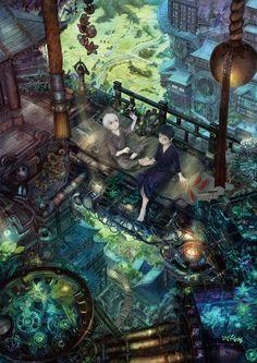 pixiv #anime #illustration I love the little pond in the bottom left corner