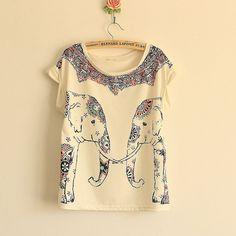 cute elephant print shirt