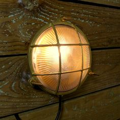 Marine Brass and glass nautical themed ceiling or wall mounted light. Outdoor Wall Mounted Lighting, Loft Lighting, Outdoor Lighting, Garden Exterior Lighting, Industrial Ceiling Lights, Nautical Bathrooms, Outdoor Walls, Rustic Style, Glass