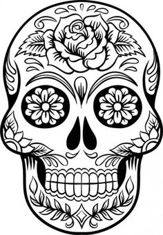Sugar Skull Tattoos, Sugar Skull Art, Sugar Skulls, Sugar Skull Drawings, Sugar Skull Stencil, Mexican Skull Tattoos, Sugar Skull Design, Skull Coloring Pages, Coloring Book Pages