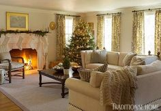 New England Home with Hushed Holiday Palette | Traditional Home Love the couch.
