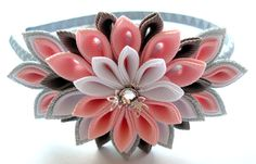 Kanzashi Fabric Flower headband. Pink, grey, silver and white.