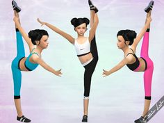 Girls new sports bra and sports tights, available in 6 color combinations. Found in TSR Category 'Sims 4 Sets'