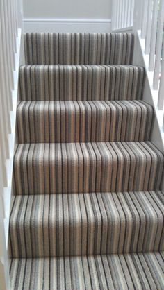 Black Grey White Striped Carpet For Stairs And Landing