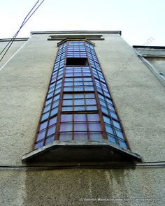 Art Deco staircase tower window, Bucharest