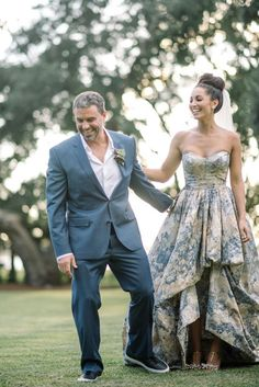 blue floral wedding dress / http://www.himisspuff.com/colorful-non-white-wedding-dresses/                                                                                                                                                                                 More