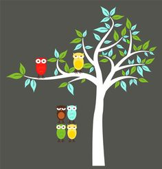 Kids Tree with 2 owls and set of 4 FREE owls you by wallinspired, $85.00