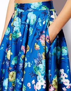 Enlarge ASOS Floral Midi Skirt In Scuba