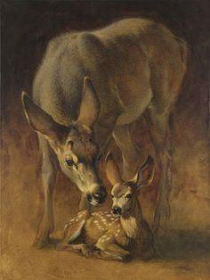 Ezra Tucker ACRYLIC. Mule doe and fawn