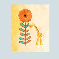 #flowers #spring #nursery #giraffe #children #homedecor #playroom #flower #babybump #babybelly #moms #toddlers #garden Baby Animal Nursery, Baby Nursery Decor, Giraffe Art, Zoo Animals, Orange Flowers, All Art, Playroom, Watercolor Paintings, Toddlers