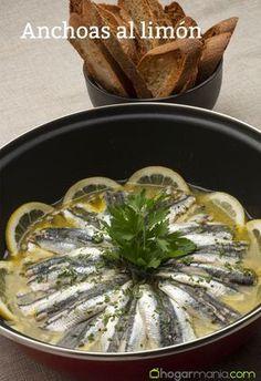 Recta de anchoas al limón #receta #anchoa Paella, Mexican, Favorite Recipes, Snacks, Cooking, Healthy, Ethnic Recipes, Paninis, Tostadas