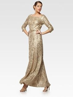 I would love this to be either mother or the bride or groom dress! amazing!    David Meister - Metallic Lace Gown - Saks.com
