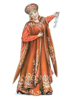 "A stage costume ""Russian Princess"" in the style of the century. A postcard from the set ""Russian Traditions in Costume. Russian Beauty, Russian Fashion, Russian Style, Historical Costume, Historical Clothing, Costume Russe, Serie Suits, Russian Folk Art, Russian Culture"