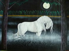 """Bäckahästen- Scandinavian folklore: """"the brook horse"""", a white water horse that has extremely long hair. They enjoy tricking humans onto their backs and then running Into the water to drown them."""