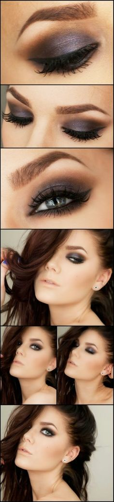 Purple Toned brown smokey eye makeup look and natural nude lip by makeup artist Linda Hallberg.