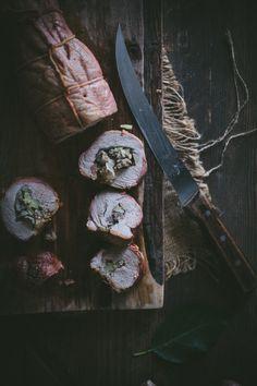 Apple, Rosemary, & Sausage Stuffed Pork Tenderloin by Eva Kosmas Flores Pork Tenderloin Recipes, Pork Recipes, Pork Dishes, Dinner Dishes, I Love Food, Food Inspiration, Carne, Food Photography, Stuffed Pork