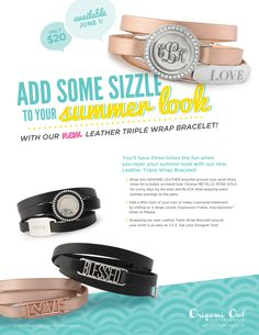 Triple leather wrap bracelet from #OrigamiOwl. Add a #Locket or a custom inscribed slider or plaque. Shop - Host - Join My Team