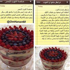 ترايفل بأنواع التوت Sweets Recipes, Cake Recipes, Cooking Recipes, Arabic Sweets, Arabic Food, English Desserts, Chocolate Fountains, S'mores Bar, Trifle Recipe
