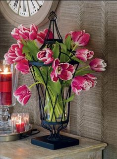 tulips in the beautiful Willow House framework urn! My Flower, Fresh Flowers, Silk Flowers, Flower Power, Beautiful Flowers, Cut Flowers, Beautiful Life, Willow House, Tulip Bouquet