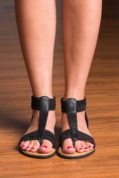 Chasing The Fun Sandal, Black #strappy #black #sandal