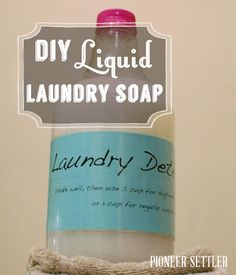 DIY Liquid Laundry Soap | This homemade laundry detergent recipe is easy and very inexpensive to make, plus you avoid the chemicals of conventional detergents and the extra budget-denting expense. #pioneersettler | pioneersettler.com