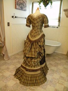 Playful Plaid Silk Taffeta Victorian Bustle Dress by bustlelady, via Flickr -Back view. Skirt looks like TV326 (Hermione Overskirt), and the top could be TV420 (1879 Cuirass Bodice)