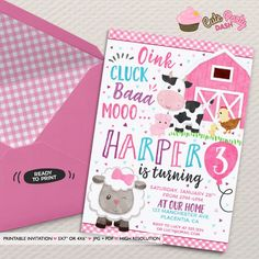Girls Barnyard Birthday invitation DIY girly Farm Animals printable invite - pink Barnyard decor Girl barnyard birthday invitations by CutePartyDash on Etsy https://www.etsy.com/listing/512096708/girls-barnyard-birthday-invitation-diy