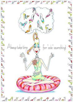 Yoga vanité Print - impression «semelle cherchant» illustré combine yoga, de chaussures et de l'âme - semelle à la recherche d'un peu d'humour femme- sur Etsy