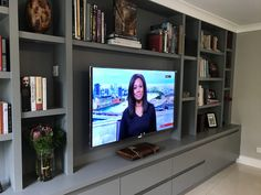Pupose Built Media Unit for client in Wandsworth - Diy Möbel Living Room Wall Units, Living Room Built Ins, Living Room Storage, Home Living Room, Living Room Designs, Alcove Ideas Living Room, Media Storage Unit, Media Unit, Tv Shelving Unit