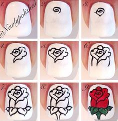 Nail tutorial. Reminds me of the rose from Beauty and the Beast (: