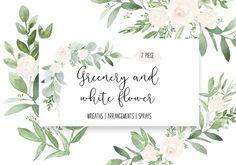 Greenery & white watercolor wedding  by DailyMiracleDigitals,LLC on @creativemarket