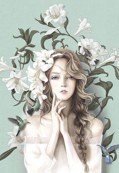 My Positive Style Chinese Drawings, Art Drawings, Girls With Flowers, Image Fun, Beautiful Fantasy Art, Fantasy Kunst, Digital Art Girl, Beauty Art, Anime Art Girl